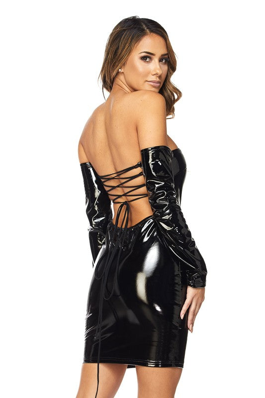 Off The Shoulder Latex Body-con Dress
