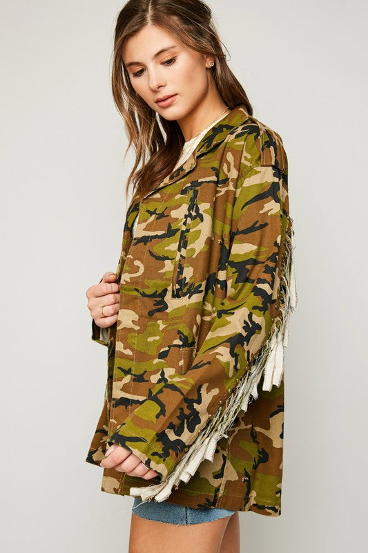 Camo Jacket With Fringe Detail
