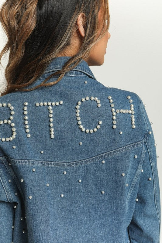 Pearl Worded Denim Jacket