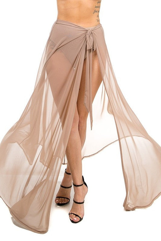Sheer Mesh Maxi Wrap Cover Up Skirt