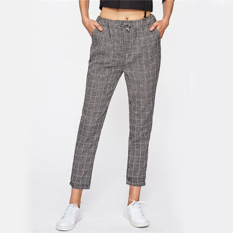Checked Drawstring Pants