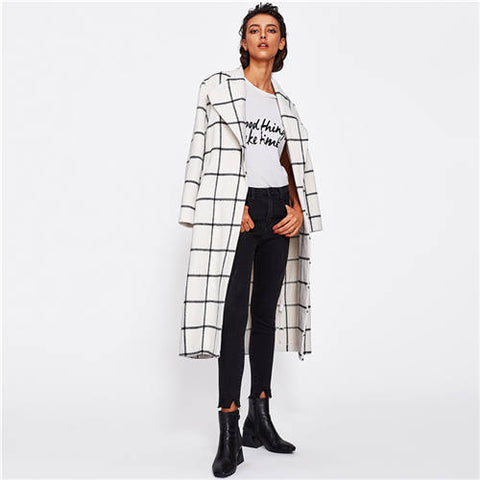 Long Coat with Checks Pattern