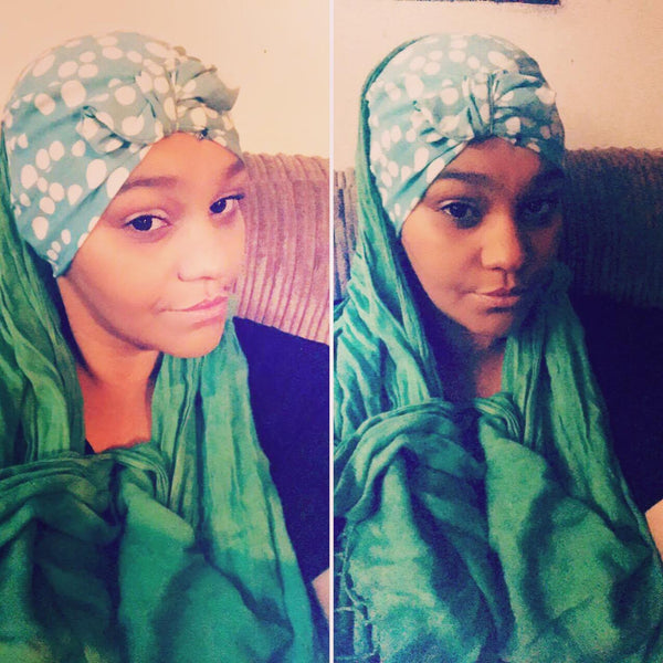 Mint green and white turban