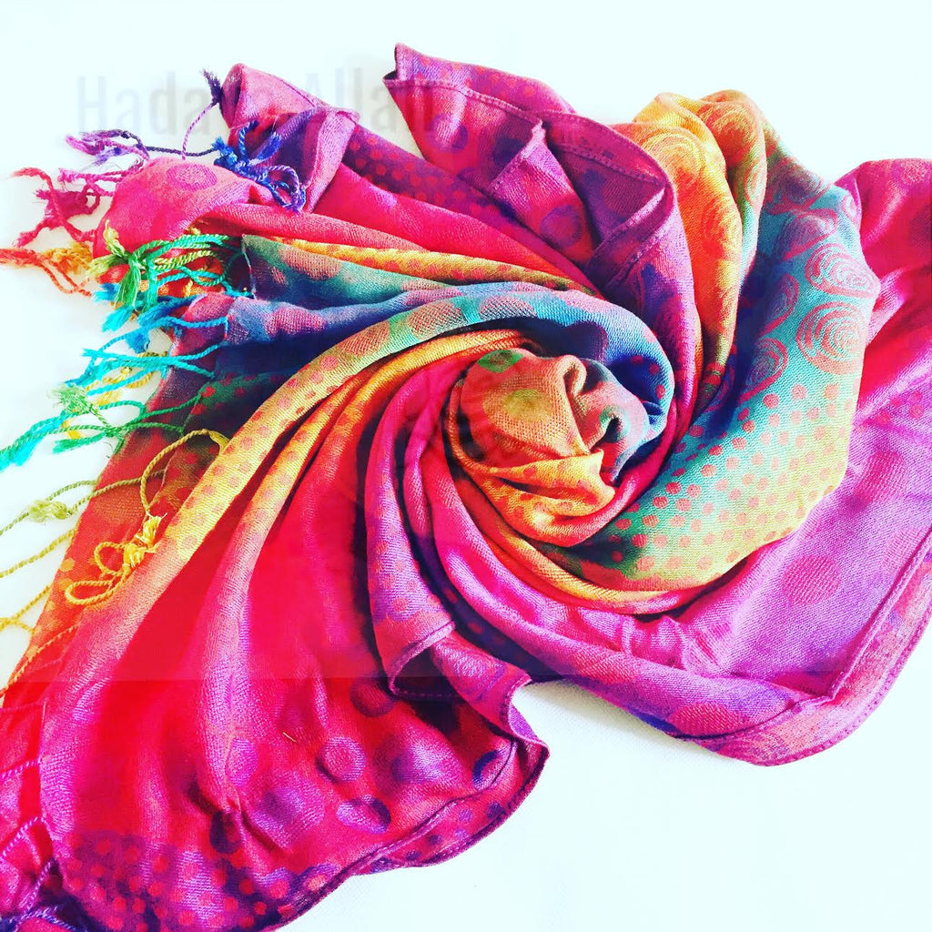 Rainbow hijab (vibrant rainbow with different pattern)