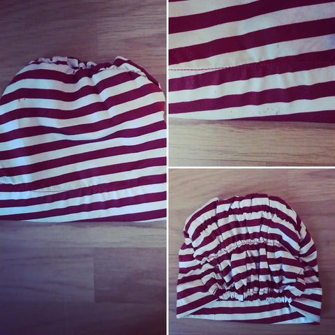 Red & white striped turban *FLAWED* REDUCED*