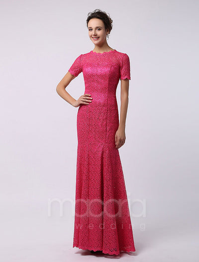 Short Sleeve Jewel Neck Lace Evening Dress