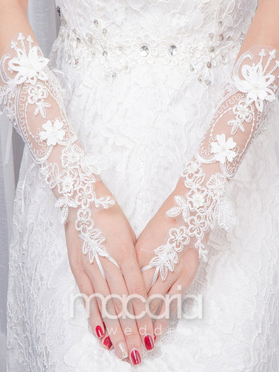 Fingerless 3D Flowers Lace Bridal Wedding Gloves - Macaria Wedding