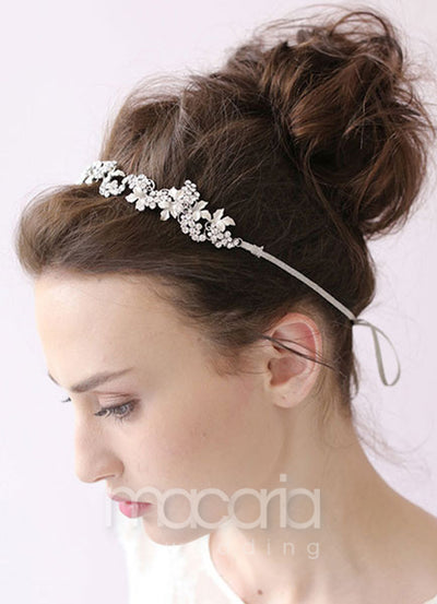 Silver Chain Flower Rhinestone Bridal Headband - Macaria Wedding