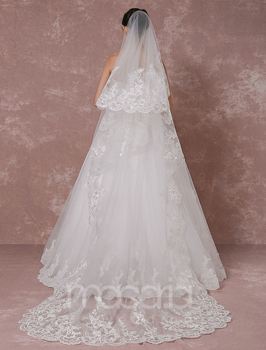 Scalloped Edge Waterfall Lace Applique Chapel Wedding Veil - Macaria Wedding