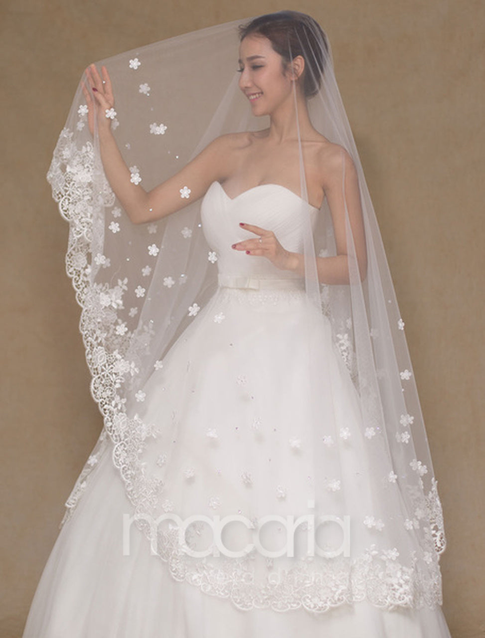 Long Lace Applique Edge Waterfall Tulle Bridal Wedding Cathedral Veil