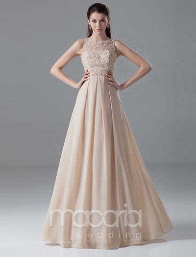 Illusion Jewel Neck Beaded Chiffon Evening Dress - Macaria Wedding