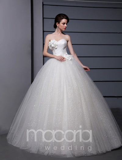Sweetheart Princess Floor Length Flowers Beaded Tulle Bridal Wedding Dress - Macaria Wedding