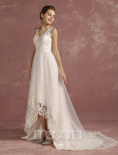 Asymmetrical V-Neck Court Train Lace High Low Bridal Wedding Dress - Macaria Wedding