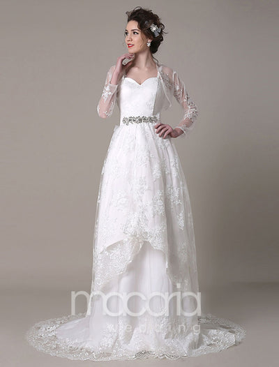 Convertible Sweetheart A-Line Bridal Wedding Dress with Detachable Train - Macaria Wedding