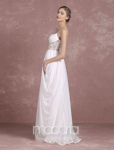 Sexy Sheer Bodice Side Draping Chiffon Bridal Wedding Dress - Macaria Wedding