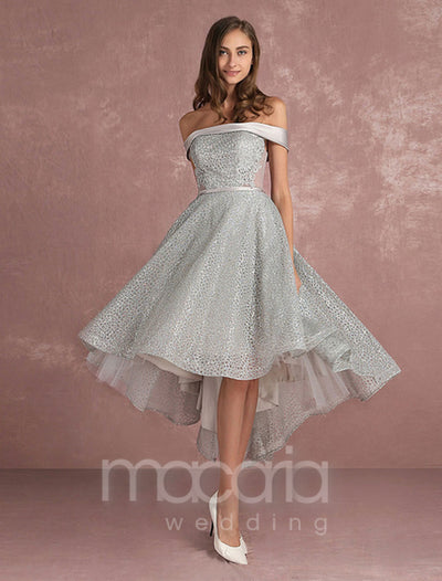 A-line Off the Shoulder High Low Glitter Dress - Macaria Wedding