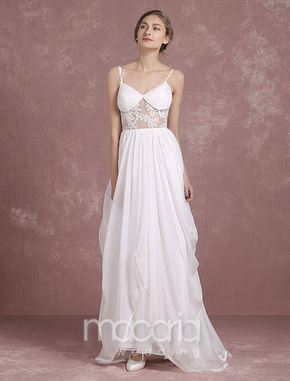 Wedding Dresses - Lace Applique Side Draping Chiffon | Macaria Wedding