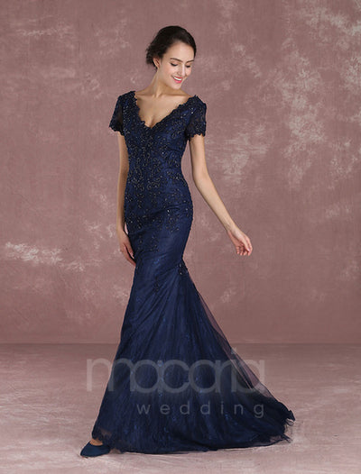 Short Sleeve Lace Beading Trumpet Evening Dress