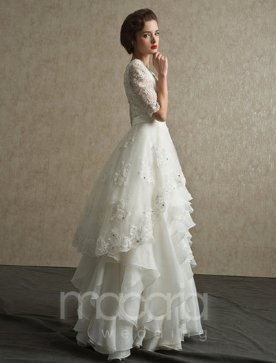 Lace Bodice Tiered Organza Wedding Dress - Macaria Wedding