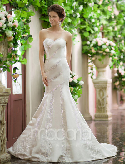 Sweetheart Beaded Trumpet Wedding Dress