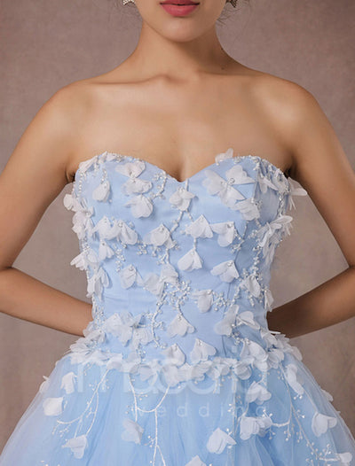 A-line Sweetheart Floral Tulle Evening Dress - Macaria Wedding