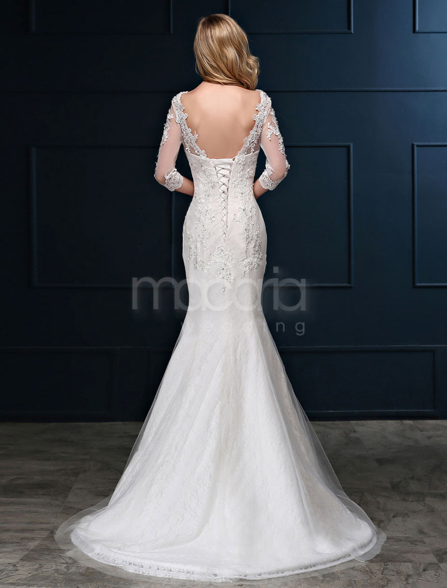 Sheer Sleeves Lace Trumpet Wedding Dress - Macaria Wedding