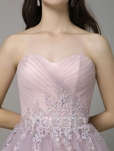 Sweetheart Backless A-Line Lace Applique Evening Dress - Macaria Wedding