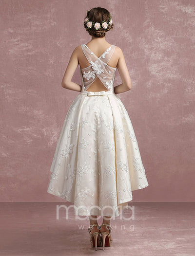 Asymmetrical Jewel Neck Cross Back High Low Satin Bridal Wedding Dress - Macaria Wedding