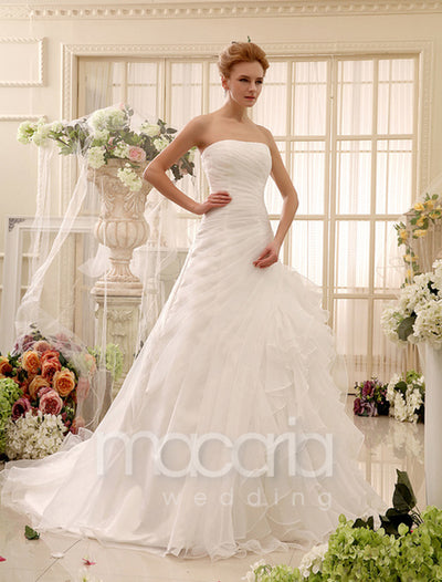 Strapless Pleated Organza A-line Chapel Train Bridal Wedding Dress - Macaria Wedding