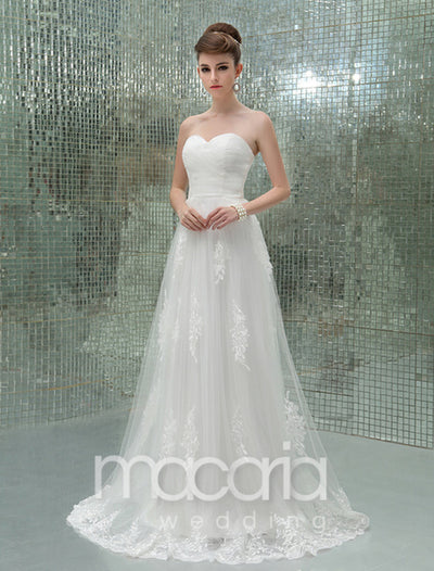 Sweetheart A-Line Floor Length Applique Tulle Bridal Wedding Dress - Macaria Wedding