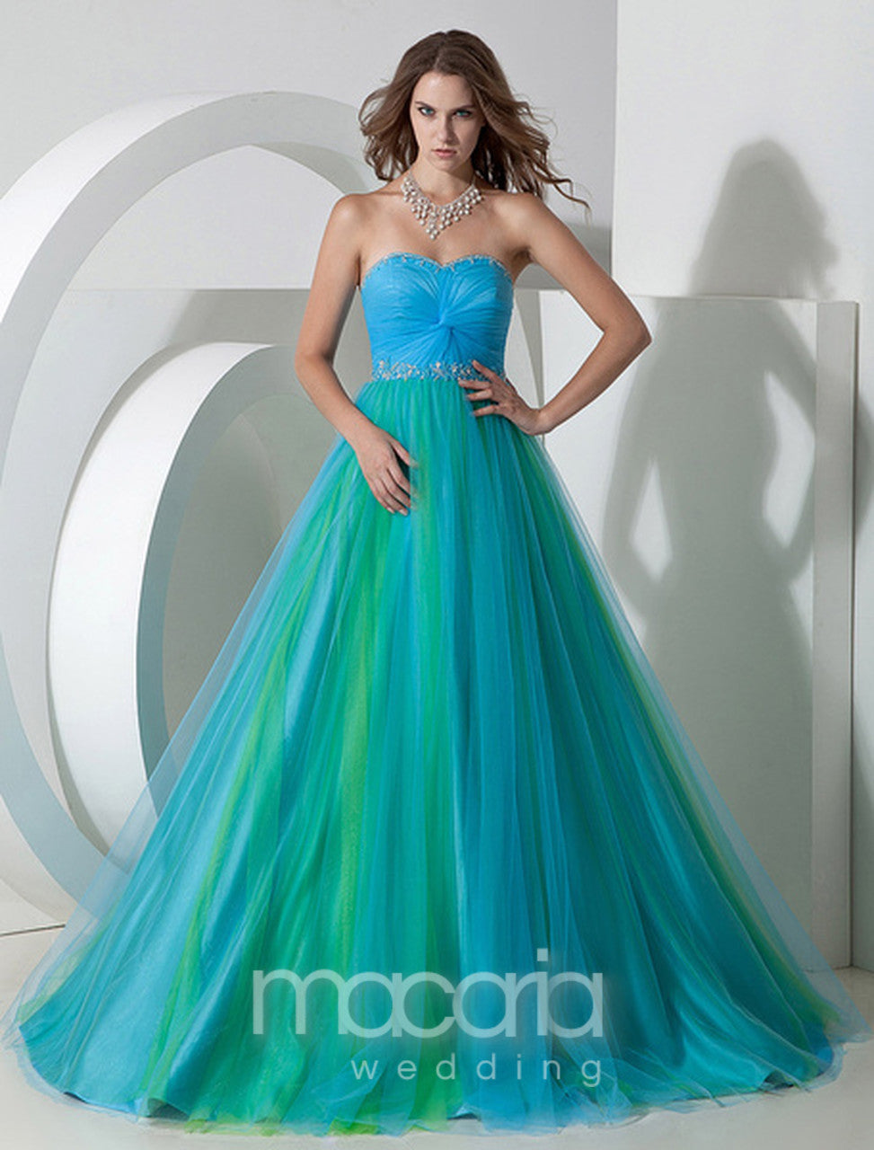 Evening Dresses - Two-Tone Ruched Tulle Satin Dress | Macaria Wedding