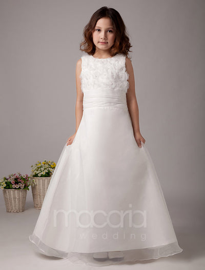 Cute Flower Applique Satin Flower Girl Dress - Macaria Wedding