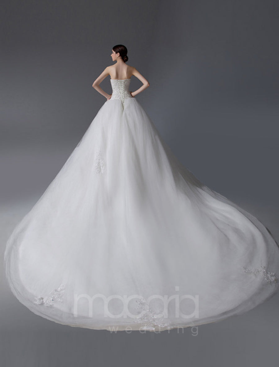 Beaded Bodice Tulle Floral Wedding Dress - Macaria Wedding