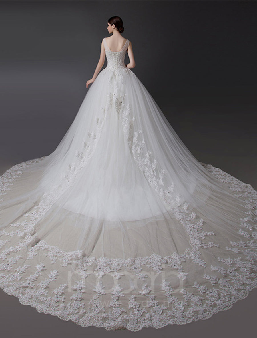 V-Neck Beaded Tulle Wedding Dress
