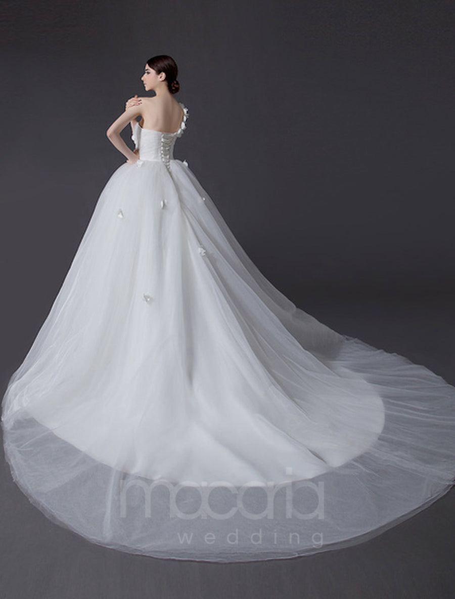 One Shoulder Flower Applique Tulle Wedding Dress - Macaria Wedding