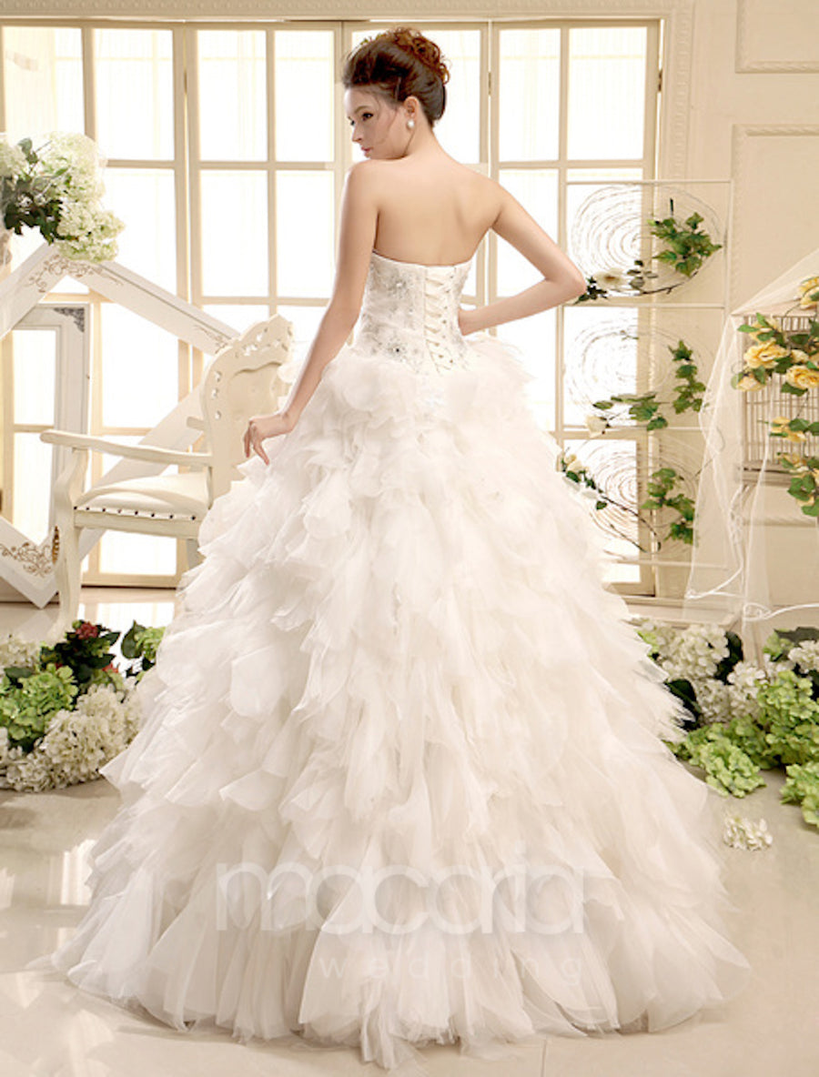 Sweetheart Beaded Ruffles Ball Gown Wedding Dress