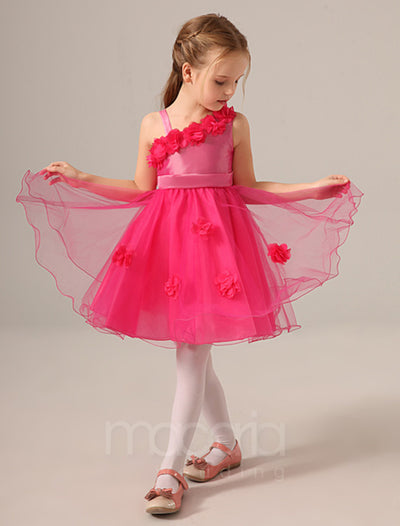 One Shoulder Flower Applique Princess Flower Girl Dress - Macaria Wedding