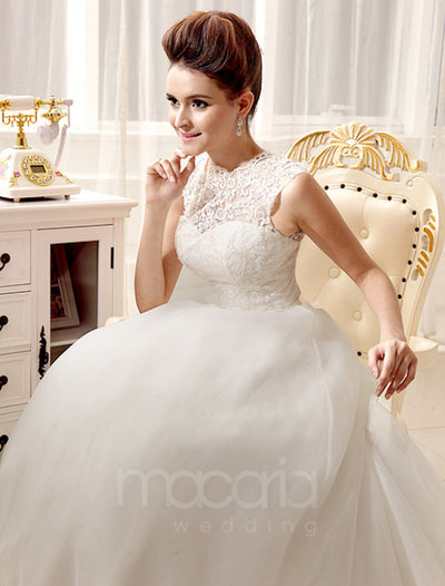 Illusion Sweetheart A-Line Lace Wedding Dress - Macaria Wedding