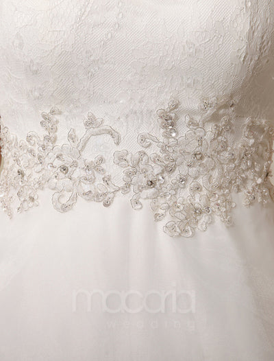 Illusion Jewel Neck Organza Wedding Dress - Macaria Wedding