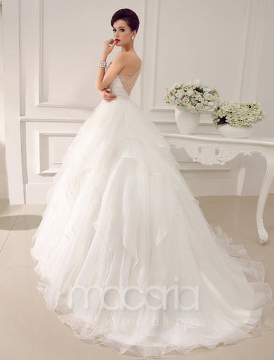 Sheer Back One Shoulder Organza Wedding Dress - Macaria Wedding