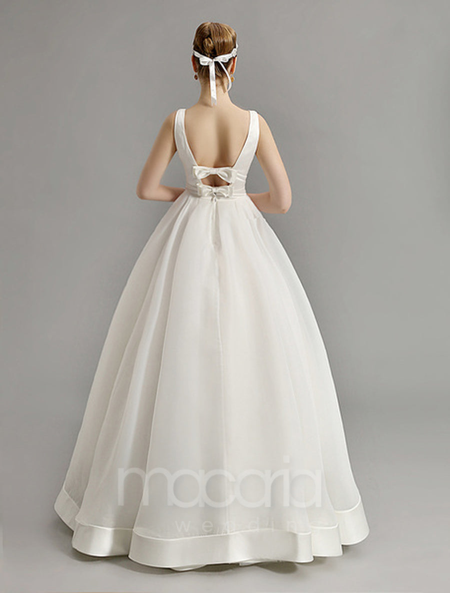 V-Neck Organza Wedding Dress with Cut Out Back