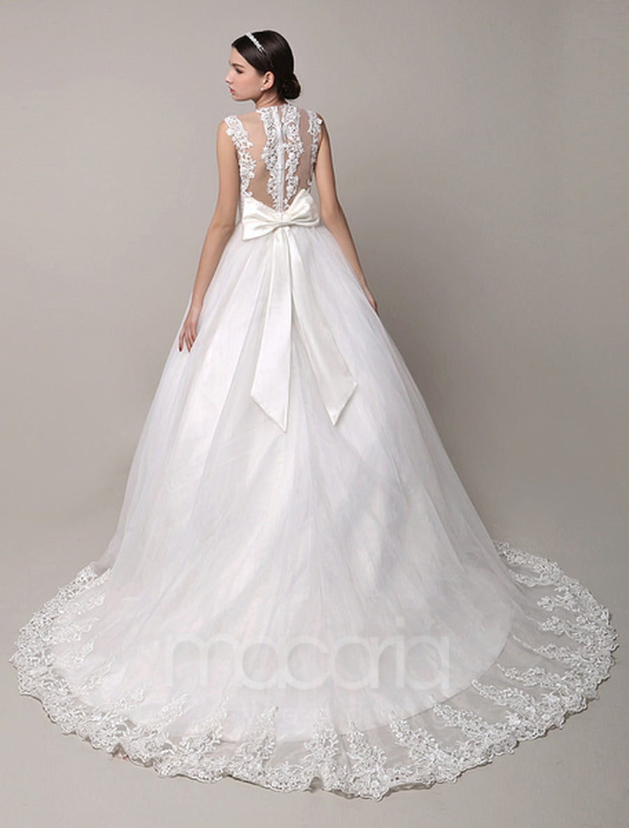 Illusion Ball Gown Lace Tulle Wedding Dress - Macaria Wedding