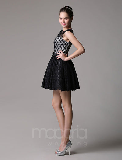 Illusion Sweetheart Polka Dot Tulle Cocktail Dress - Macaria Wedding