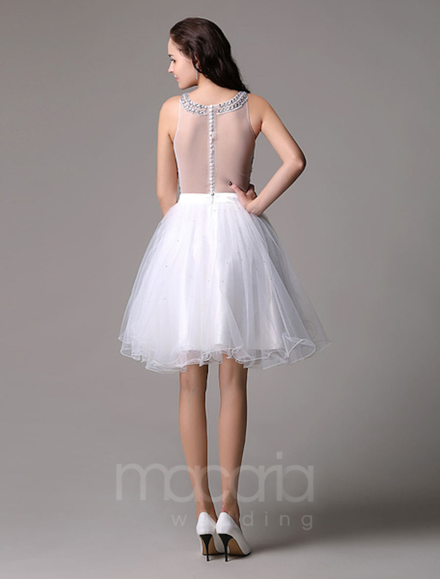 Illusion Beaded Tulle Knee Length Wedding Dress - Macaria Wedding