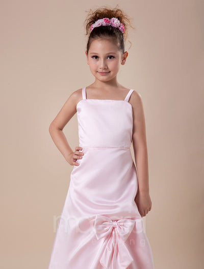 Bow Embellished Ruched Satin Flower Girl Dress - Macaria Wedding