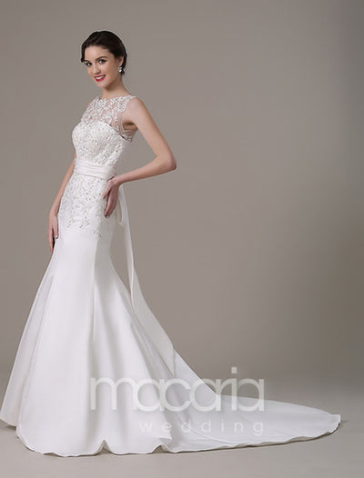 Sweetheart Lace Satin Wedding Dress with Detachable Lace Top