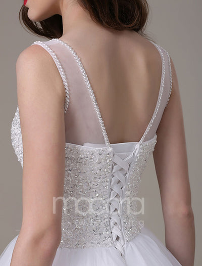 Luxury Beaded Bodice Illusion Bridal Wedding Dress - Macaria Wedding