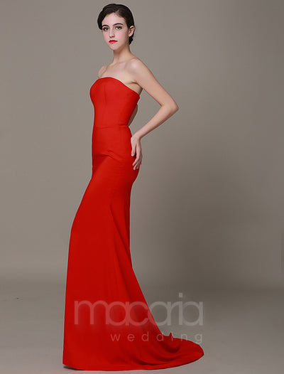 Classic Strapless Satin Sheath Evening Dress - Macaria Wedding
