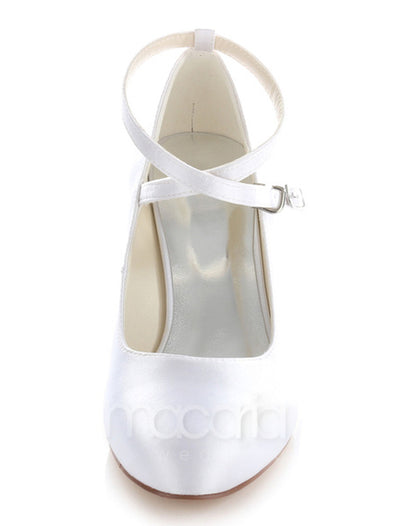 Cross Straps Almond Toe Heels - Macaria Wedding