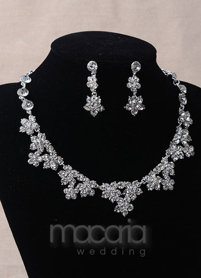 Silver Rhinestone 3-Piece Bridal Jewelry Set